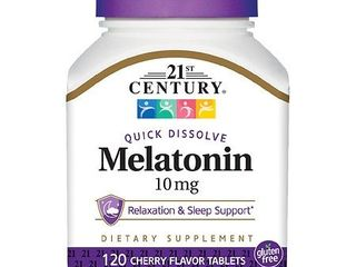21st Century Melatonin Quick Dissolve Tablets  Cherry  10 mg  120 Count