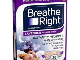 Breathe Right lavender Scented Drug Free Nasal Strips for Congestion Relief   26ct