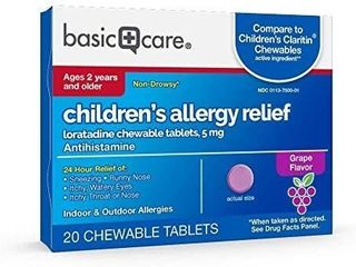 Amazon Basic Care Children s Allergy Relief  loratadine Chewable Tablets  5 mg  Antihistamine  20 Count