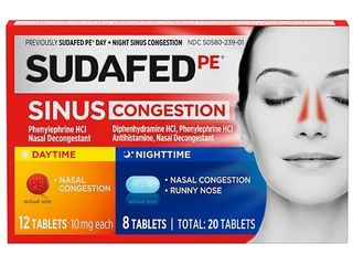 Sudafed PE Day   Night Maximum Strength Sinus Decongestant Tablets   20ct