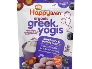 HappyBaby Organic Greek Yogis Blueberry   Purple Carrot Baby Snacks  1oz