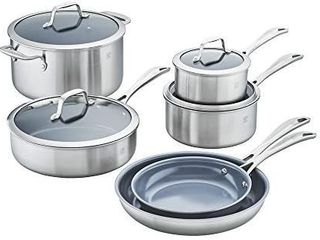 Zwilling J A  Henckels Spirit Ceramic Nonstick Cookware Set  10 pc  Stainless Steel