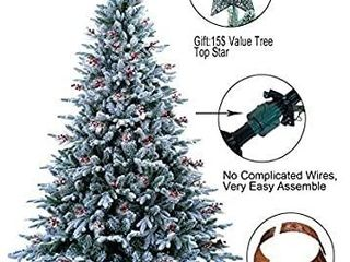ABUSA Prelit Frosted Christmas Tree 9ft Pre lit Electric Tube 900lED lights Flocked Snowy Everest Pine with Tree Top Star Tree Collar Gifted Berries and Pine Conesi1 4New