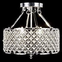 Top lighting 4 light Chrome Finish Round Metal Shade Crystal Chandelier Semi Flush Mount Ceiling Fixture