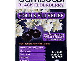 Sambucol Black Elderberry Cold   Flu Relief Quick Dissolve Tablets  30 Ct