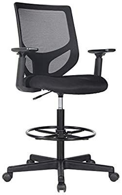 Drafting Chair Tall Office Chair for Standing Desk Drafting Mesh Table Chair with Adjustable Armrest and Foot Ring