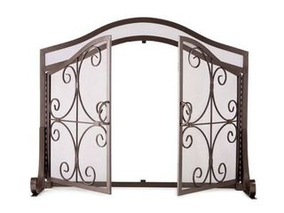 Small Crest Fireplace Fire Screen with Doors  Copper
