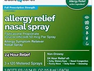 Amazon Basic Care Allergy Relief Nasal Spray  Fluticasone Propionate  Glucocorticoid  50 mcg Per Spray