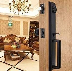 Front Door Handleset HandleSet with Knob Door Handle for Entrance Reversible for Right and left Handed and a Single Cylinder Deadbolt Handle Set Oil Rubbed Bronze Finish