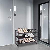 Simple Trending 3 Tier Stackable Shoe Rack  Expandable   Adjustable Fabric Shoe Shelf Storage Organizer  Bronze