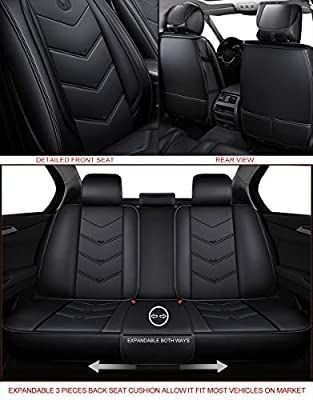 OASIS AUTO OS 003 leather Car Seat Covers  Faux leatherette Automotive Vehicle Cushion Cover for Cars SUV Pick up Truck Universal Fit Set for Auto Interior Accessories  Full Set  Black