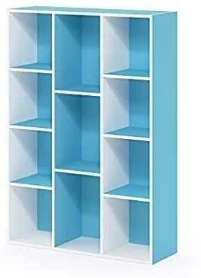 FURINNO 11 Cube Reversible Open Shelf Bookcase  White light Blue