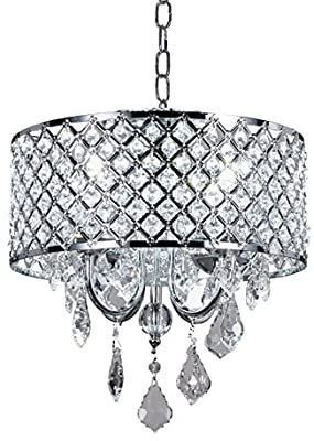 New Galaxy lighting 4 light Chrome Round Metal Shade Crystal Chandelier Pendant Hanging Ceiling Fixture