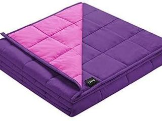Zonli Cooling Weighted Blanket 22 lbs  60 x80  Pink Purple  Cool Weighted Blanket for Adults  100  Cotton Material with Glass Beads