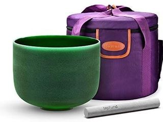 TOPFUND Green F Note Crystal Singing Bowl Heart Chakra 8 inch with Heavy Duty Carrying Case and Suede Striker