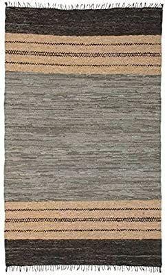 Matador leather Chindi Rug  5 by 8 Feet  Gray