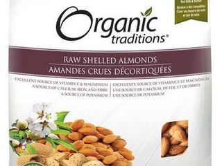 Organic Traditions Premium Raw Shelled  Almonds  16 Ounce  New  Free Ship
