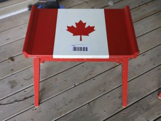 2 CANADIAN WOOD TABlES   20  X 14  X 17