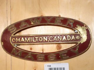 CAST IRON SAWYER MASSEY  HAMIlTON CANADA PlAQUE