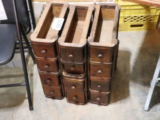 6 WOODEN SEWING MACHINE DRAWERS