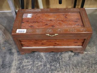 CARVED CEDAR lINED CHEST   34  X 16  X 18