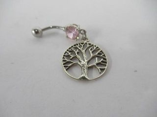 Sterling Silver Tree Of life Belly Button Ring