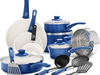 Greenlife Soft Grip 16 Pc Cookwear  Navy Blue