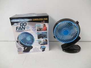 As Is  Go Fan Rechargeable lithium Ion Fan That