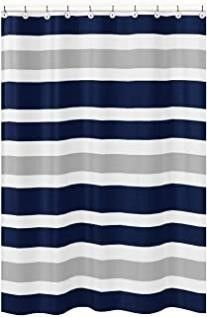 Navy Blue  Gray and White Kids Bathroom Fabric