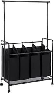 SONGMICS 4 Bag Rolling laundry Sorter with Hanging
