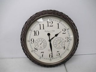 As Is  Indoor Outdoor Faux Rattan Wall Clock with