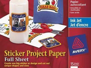 Avery Sticker Paper  Matte White  8 5 x 11 Inches