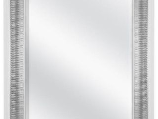 MCS 18x24 Inch Beveled Wall Mirror White and Woven