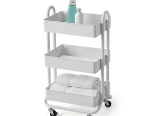 SAlT 3 Tier Bath Storage Cart in White