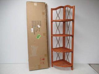 As Is  lavish Home 4 Tier Wood Folding Corner