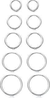 Besteel 5 Pairs Stainless Steel Small Hoop