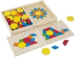 Melissa   Doug Pattern Blocks and Boards Classic
