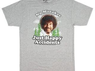 Bob Ross Men s large T Shirt  No Mistakes Just