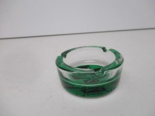 Glass Ash Tray With Green Aid  Marijuana leaf Base