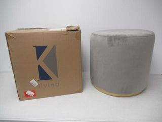 K Elite Round Tufted Ottoman with Stainless Steel