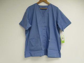landau Women s XXl Short Sleeve Snap Front V Neck