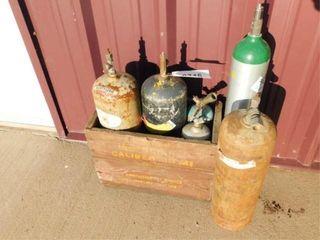3 small Acetylene bottles  3  small oxygen