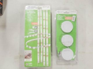 4  12in lED Tape light Kit and 3 lED Pucklight