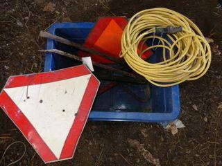 Blue Bin w Cord  Bars  SMV Signs  Etc