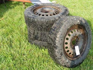 Set of 215 65R17 Snow Tires on Rims