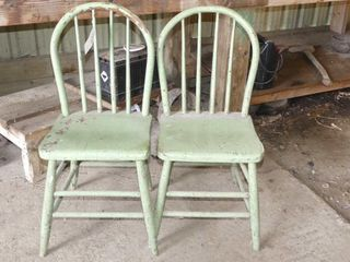 Pair of Green Hoopback Chairs