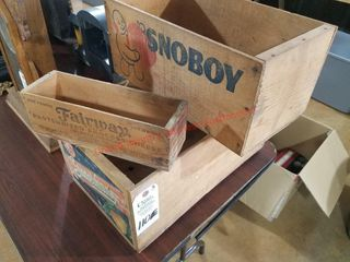 3  Vintage Wood Shipping Crates