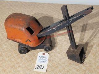 Vintage orange and black steam shovel
