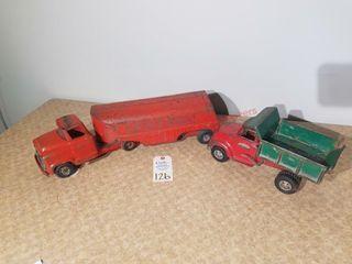Buddy l semi tractor trailer Red Texaco  8