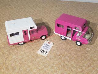 1970 mini Tonka camper and 1963 mini pink camper